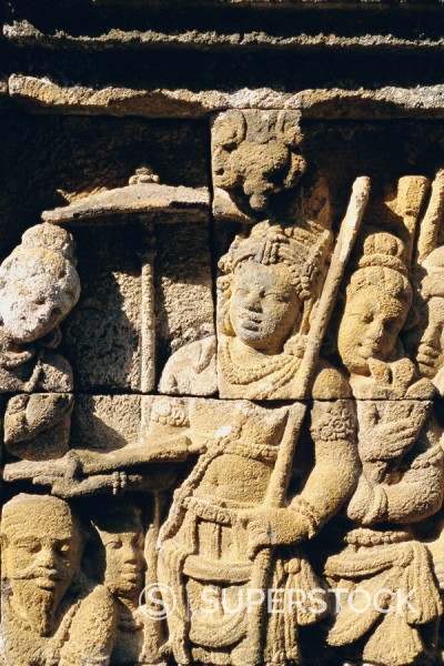 Stock Photo: 1890-71511 Relief carving on frieze on outside wall of the Buddhist temple, Borobodur Borobudur, Java, Indonesia