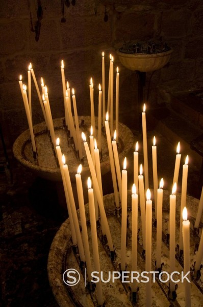 Stock Photo: 1890-71863 Candles in church, Southern France, Europe