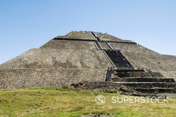 Pyramid of the Sun, Teotihuacan, 150AD to 600AD and later used by the Aztecs, UNESCO World Heritage Site, north of Mexico City, Mexico, North America : Stock Photo