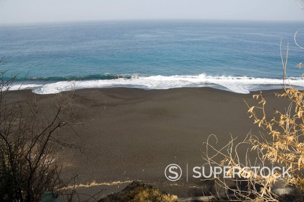 Black volcanic sand beach at Sao Filipe, Fogo Fire, Cape Verde Islands, Atlantic Ocean, Africa : Stock Photo