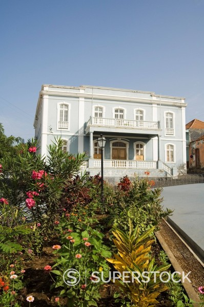 Old colonial style building, Sao Filipe, Fogo Fire, Cape Verde Islands, Africa : Stock Photo