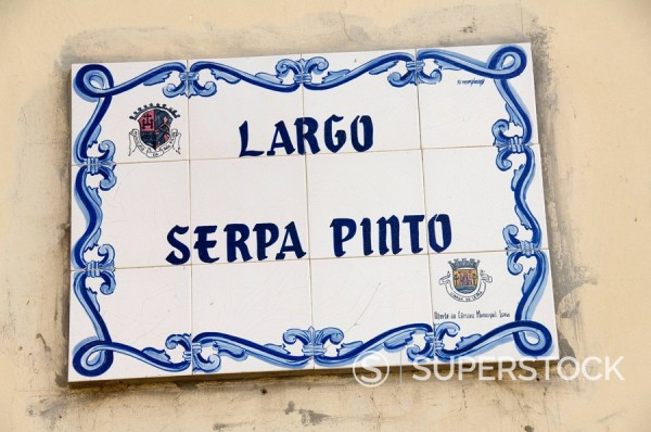 Stock Photo: 1890-72134 Street sign at one of the main squares, Sao Filipe, Fogo Fire, Cape Verde Islands, Africa