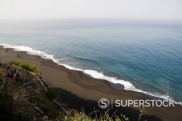 Stock Photo: 1890-72135 Black volcanic sand beach at Sao Filipe, Fogo Fire, Cape Verde Islands, Atlantic Ocean, Africa