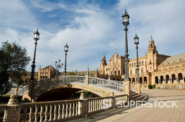 Stock Photo: 1890-72163 Plaza de Espana erected for the 1929 Exposition, Parque de Maria Luisa, Seville, Andalusia Andalucia, Spain, Europe