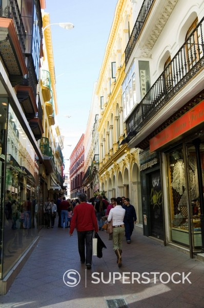 Stock Photo: 1890-72173 Main shopping district, Sierpes Street, Seville, Andalusia Andalucia, Spain, Europe