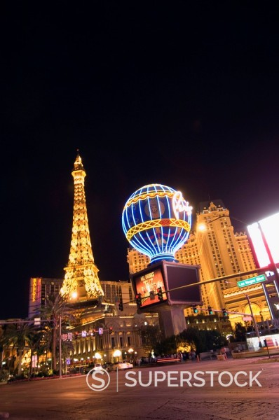 Stock Photo: 1890-72298 Paris Hotel with mini Eiffel Tower at night, The Strip Las Vegas Boulevard, Las Vegas, Nevada, United States of America, North America