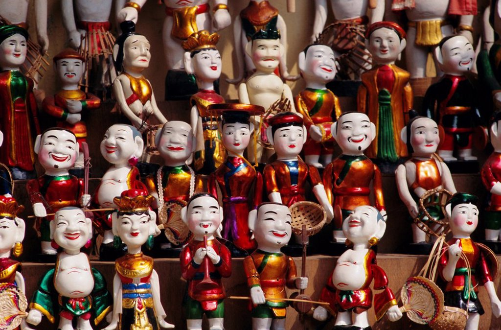 Wooden water puppets, North Vietnam, Vietnam, Indochina, Southeast Asia, Asia : Stock Photo