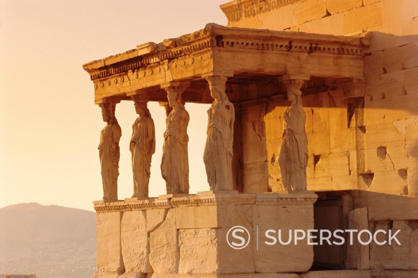 Stock Photo: 1890-73133 Caryatids Portico, figures of the Six Maidens, Erechtheion, Athens, Greece, Europe