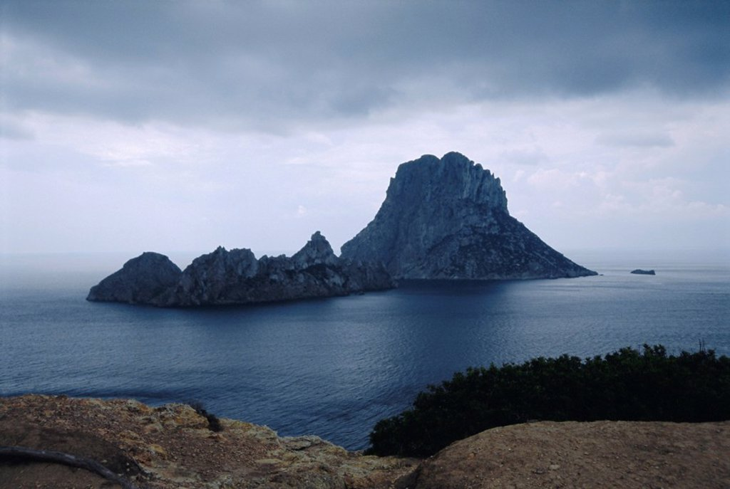 The island of Vedra off the coast of Ibiza, the island where nothing grows or lives, Ibiza, Balearic Islands, Spain, Europe : Stock Photo