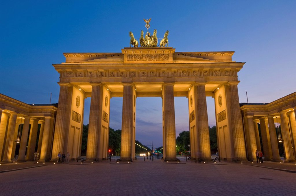 Stock Photo: 1890-73741 The Brandenburg Gate with the Quadriga winged victory statue on top illuminated at night, Pariser Platz, Berlin, Germany, Europe