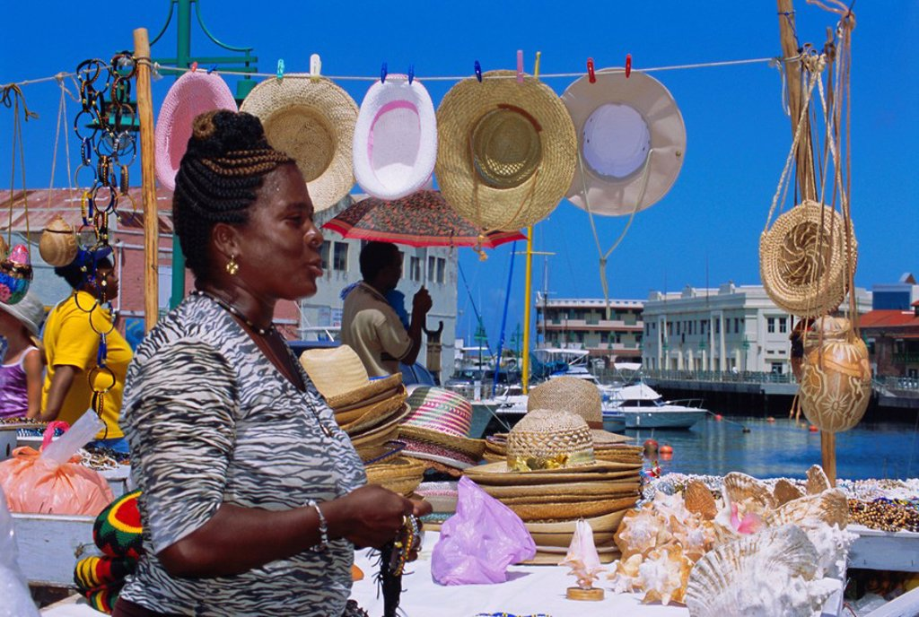 Souvenir market stall, Barbados, Caribbean, West Indies : Stock Photo