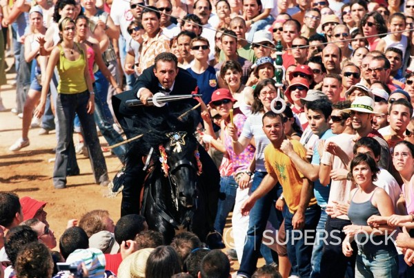 Stock Photo: 1890-74665 Rider speeding during the Medieval games, festival celebrated on St. John´s Day Festa de Sant Joan, Ciutadella, Minorca Menorca, Balearic Islands, Spain, Mediterranean, Europe