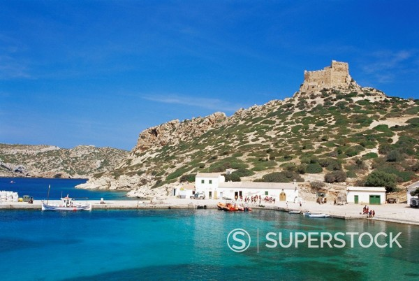 Harbour and fortress, Cabrera Island, Cabrera National Park, Balearic Islands, Spain, Mediterranean, Europe : Stock Photo