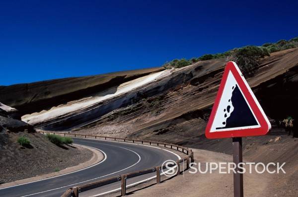 Stock Photo: 1890-74730 Sign on road with stratified volcanic rocks in the background, Parque Nacional del Teide, Tenerife, Canary Islands, Spain, Atlantic, Europe