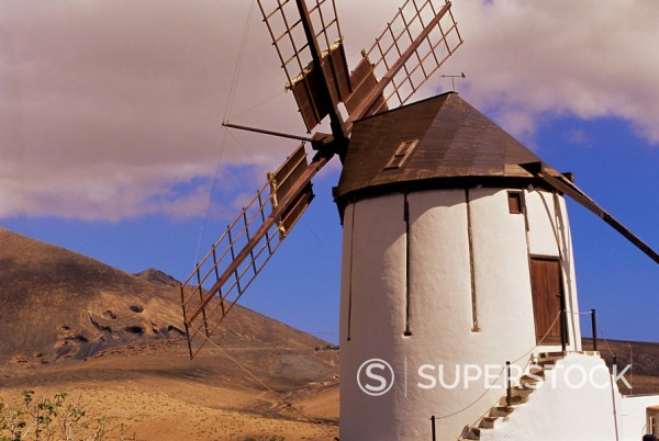 Stock Photo: 1890-74852 Exterior of old windmill in volcanic landscape, near Tiscamanita, Fuerteventura, Canary Islands, Spain, Europe