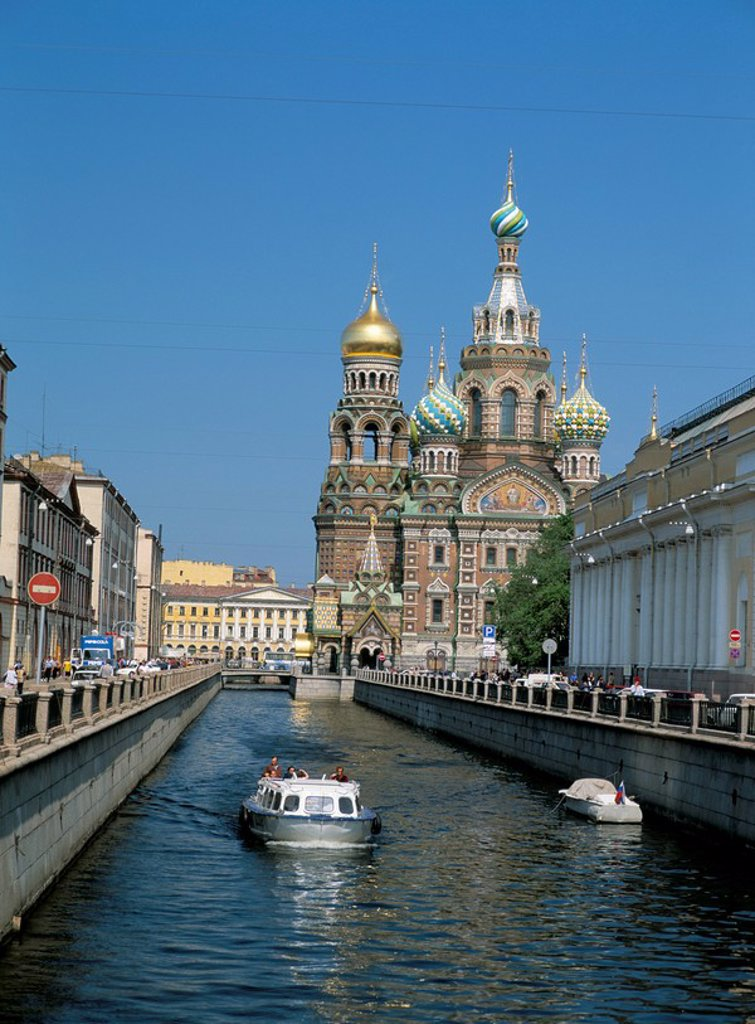 Stock Photo: 1890-7493 Canal and the Church on Spilled Blood, UNESCO World Heritage Site, St. Petersburg, Russia, Europe