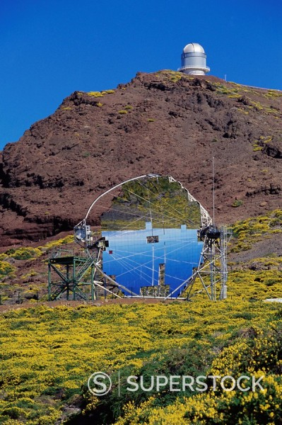 Astrophysic observatory, the most important in Europe, situated near Roque de los Muchachos, La Palma, Canary Islands, Spain, Europe : Stock Photo