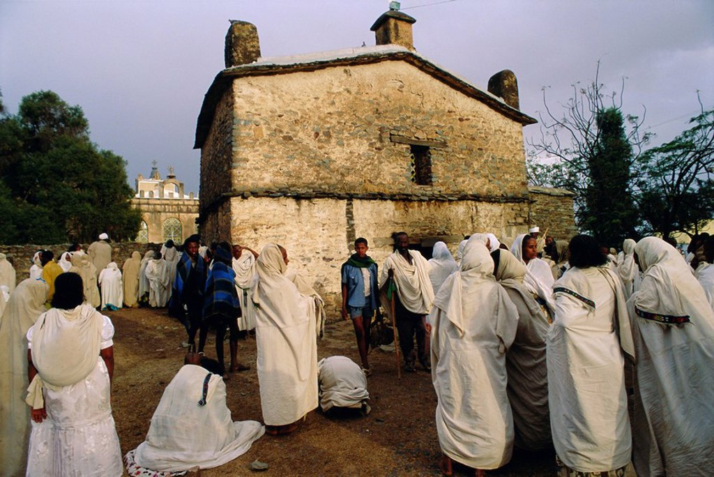 Pilgrims at the Easter Festival, St. Mary of Sion, Axoum Axum, Abyssinian Highlands, Tigre, Ethiopia, Africa : Stock Photo