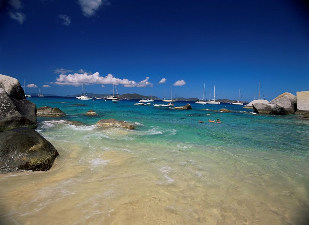 Stock Photo: 1890-7664 Swimmers and yachts at The Baths, Virgin Gorda, British Virgin Islands, West Indies, Caribbean, Central America