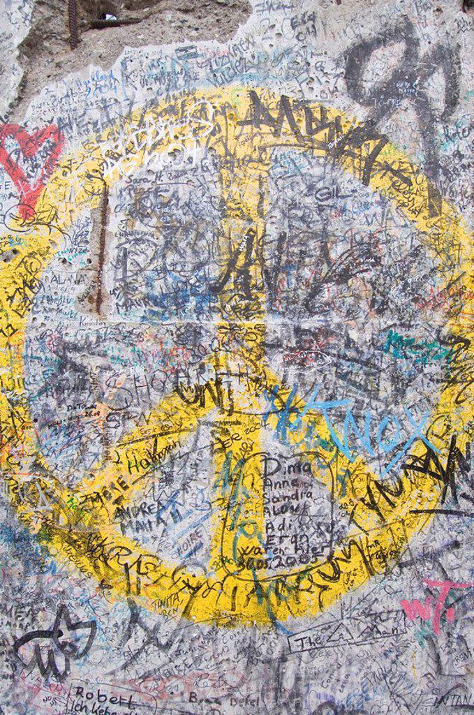 Berlin Wall, CND Sign, Berlin, Germany : Stock Photo