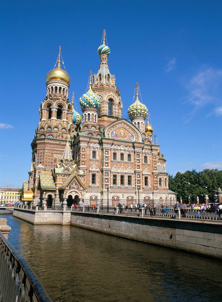 Stock Photo: 1890-7759 Church on Spilled Blood, UNESCO World Heritage Site, St. Petersburg, Russia, Europe