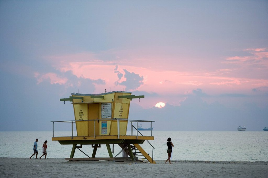 Sunrise, Miami Beach, Miami, Florida, United States of America, North America : Stock Photo