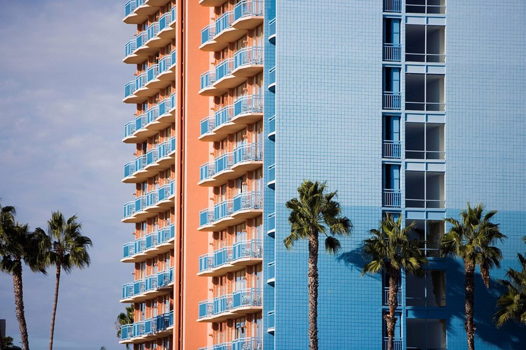 Blue building, San Diego, California, United States of America, North America : Stock Photo