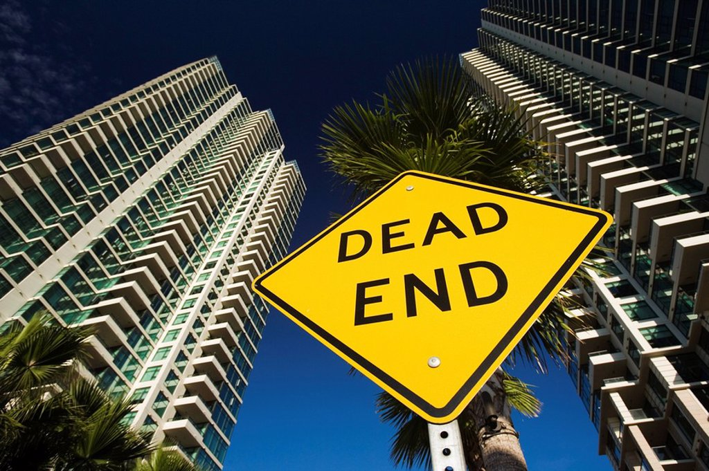Stock Photo: 1890-78256 Dead End sign, San Diego, California, United States of America, North America
