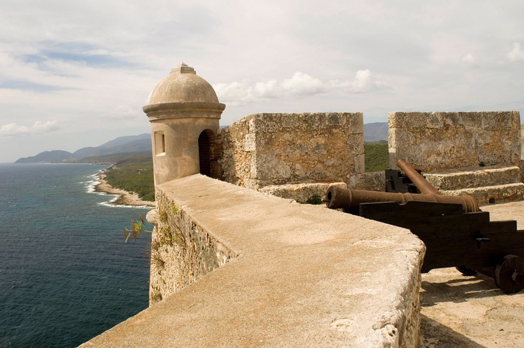 Stock Photo: 1890-7899 A triangular lunette at the Castillo del Morro, a fortess at the entrance to the Bay of Santiago, UNESCO World Heritage Site, 10 km southwest of Santiago de Cuba, Cuba, West Indies, Central America