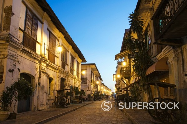 Spanish Old Town, ancestral homes and colonial era mansions built by Chinese merchants, UNESCO World Heritage Site, Vigan City, Ilocos Province, Luzon Island, Philippines, Southeast Asia, Asia : Stock Photo