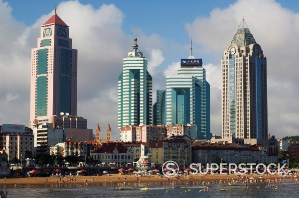 Stock Photo: 1890-79381 Modern skyscrapers in the seaside beach resort and host of the sailing events of the 2008 Olympic Games, Qingdao, Shandong Province, China, Asia