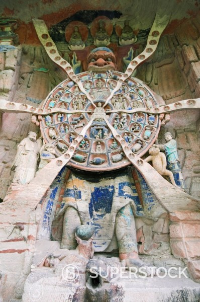 Stock Photo: 1890-79595 Tibetan Buddhist wheel of life rock sculpture at Dazu Rock Carvings, UNESCO World Heritage Site, Chongqing Municipality, Fujian Province, China, Asia