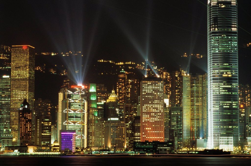 Stock Photo: 1890-79827 Hong Kong Island Central skyline at night from Tsim Sha Tsui, Hong Kong, China, Asia