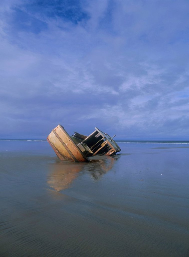 Wrecked ship, Queen Charlotte Islands, British Columbia B.C., Canada, North America : Stock Photo