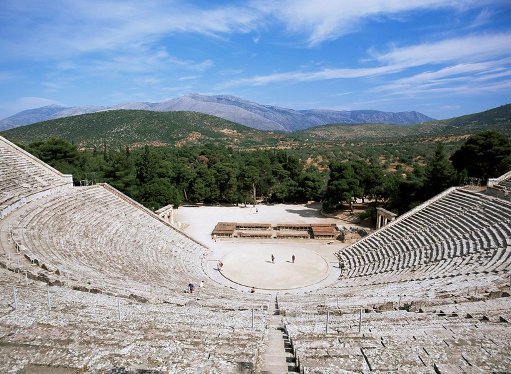 Stock Photo: 1890-80033 Ancient Greek theatre, Epidaurus, UNESCO World Heritage Site, Peloponnese, Greece, Europe
