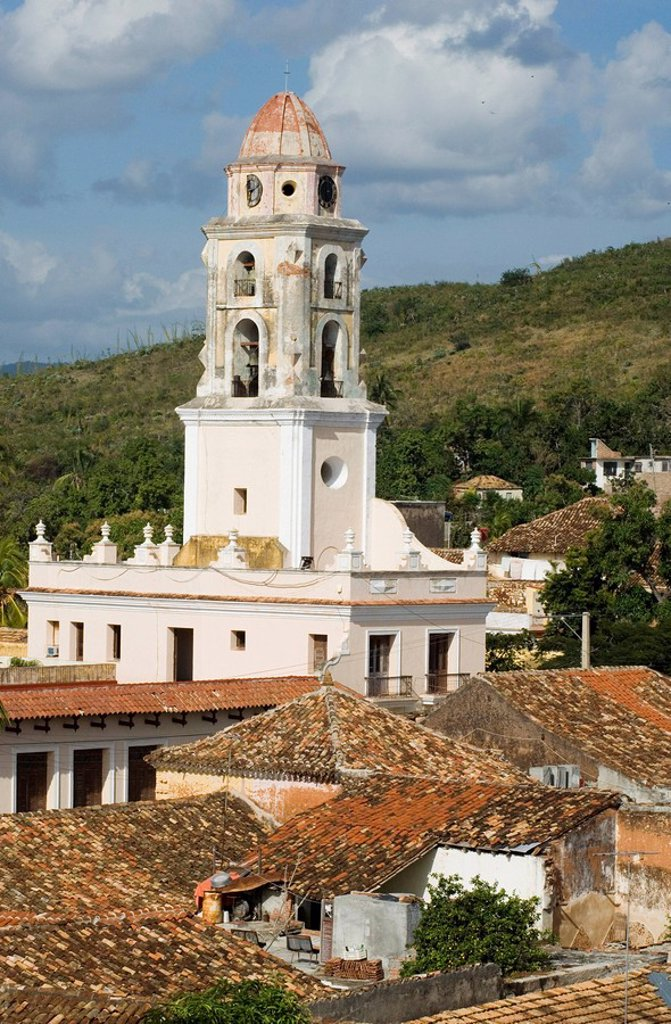 Stock Photo: 1890-8004 The belltower of Iglesia y Covento de San Francisco and terracotta rooftops, Trinidad, UNESCO World Heritage Site, Cuba, West Indies, Central America