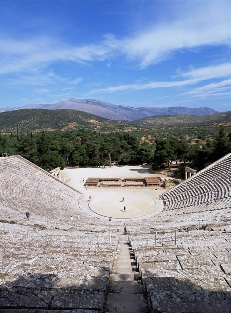 Stock Photo: 1890-80040 Ancient Greek theatre, Epidaurus, UNESCO World Heritage Site, Peloponnese, Greece, Europe