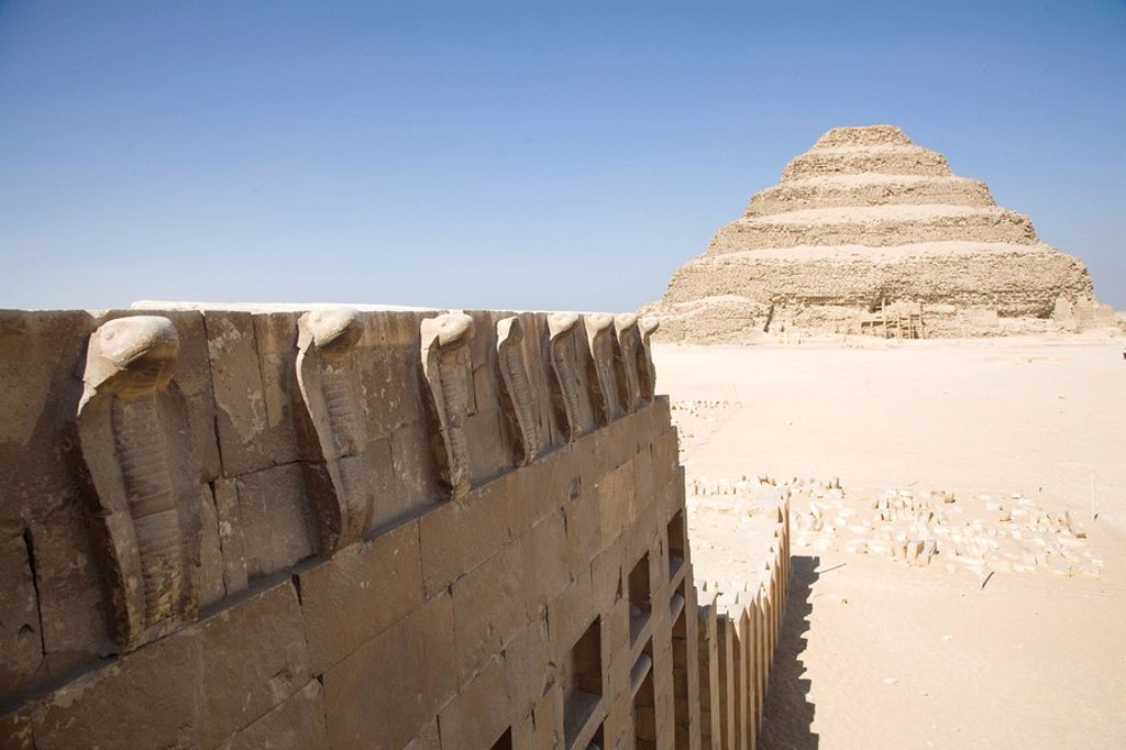 Stock Photo: 1890-80152 The Step Pyramid of Saqqara, seen from the Cobra entrance, UNESCO World Heritage Site, near Cairo, Egypt, North Africa, Africa