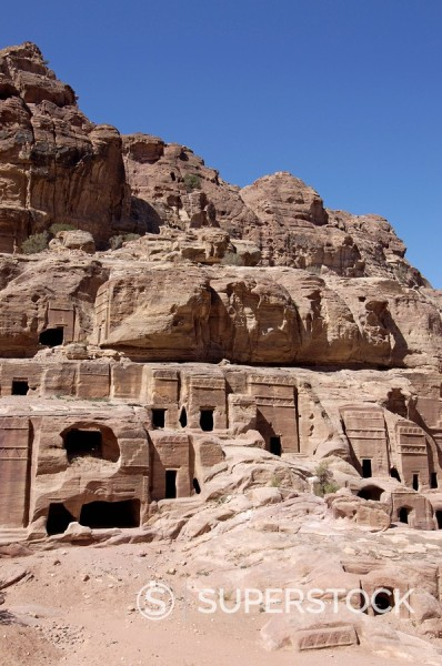 Stock Photo: 1890-80353 Nabatean tombs, Petra, UNESCO World Heritage Site, Jordan, Middle East