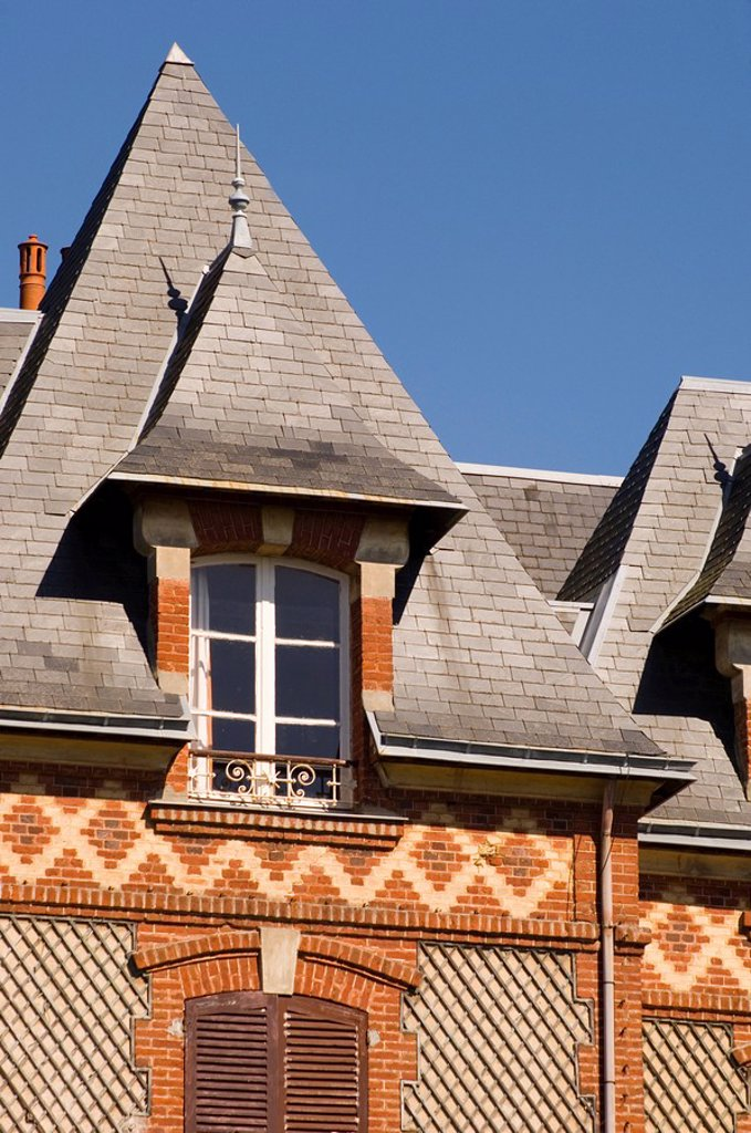 Stock Photo: 1890-8057 Elaborate brickwork on a house in the seaside town of Houlgate, Normandy, France, Europe