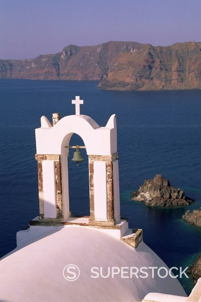 Stock Photo: 1890-80614 Church bell tower, Oia Ia, Santorini Thira, Cyclades Islands, Aegean Sea, Greece, Europe