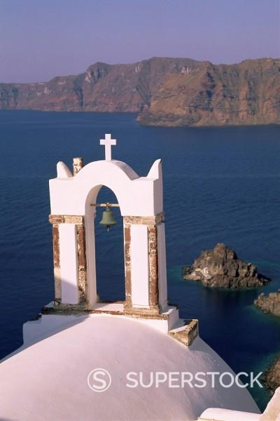 Church bell tower, Oia Ia, Santorini Thira, Cyclades Islands, Aegean Sea, Greece, Europe : Stock Photo