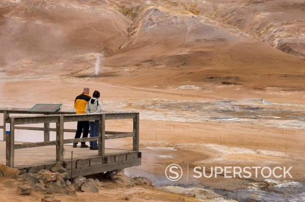 Stock Photo: 1890-80733 Hverir geothermal fields at the foot of Namafjall mountain, Myvatn Lake area, Iceland, Polar Regions