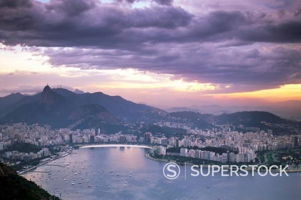 Botafogo bay at sunset, Rio de Janeiro, Brazil, South America : Stock Photo