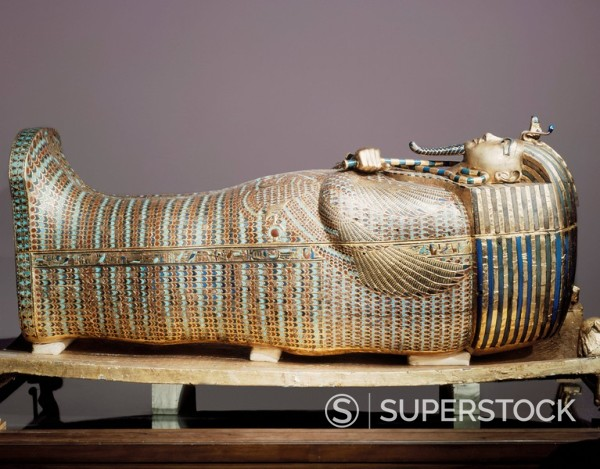 Stock Photo: 1890-81313 The second mummiform coffin made from gold_plated wood inlaid with glass_paste, from the tomb of the pharaoah Tutankhamun, discovered in the Valley of the Kings, Thebes, Egypt, North Africa, Africa