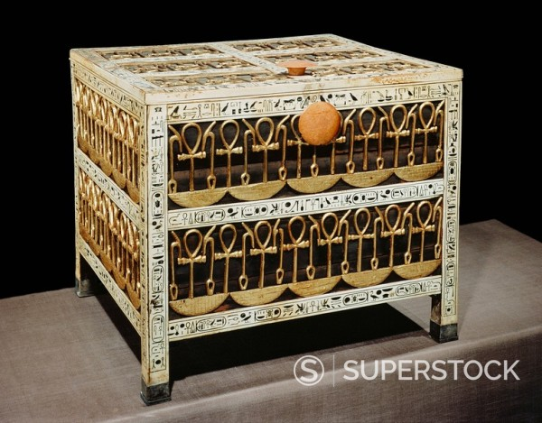 Coffer from the treasury, made from wood and ivory with applied gold and silver, from the tomb of the pharaoh Tutankhamun, discovered in the Valley of the Kings, Thebes, Egypt, North Africa, Africa : Stock Photo