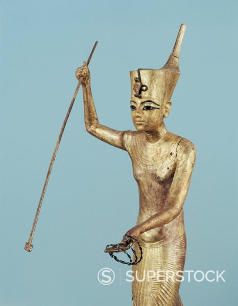 Stock Photo: 1890-81319 Gilt wood statuette of Tutankhamun on a boat with a harpoon, from the tomb of the pharaoh Tutankhamun, discovered in the Valley of the Kings, Thebes, Egypt, North Africa, Africa