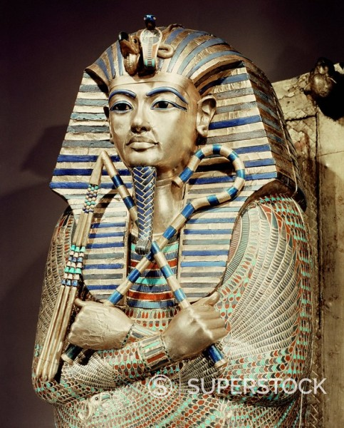 Stock Photo: 1890-81324 Detail of the second mummiform coffin made from gold_plated wood inlaid with glass_paste, from the tomb of the pharaoh Tutankhamun, discovered in the Valley of the Kings, Thebes, Egypt, North Africa, Africa