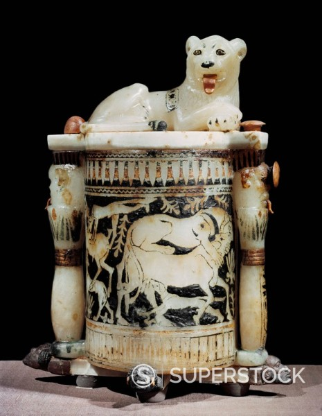 Stock Photo: 1890-81325 Painted alabaster unguent jar showing hunting scene, with the king as a lion, from the tomb of the pharaoh Tutankhamun, discovered in the Valley of the Kings, Thebes, Egypt, North Africa, Africa
