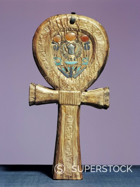 Mirror case in the form of an ankh, the sign of life, made of gilt wood inlaid with glass_paste, from the tomb of the pharaoh Tutankhamun, discovered in the Valley of the Kings, Thebes, Egypt, North Africa, Africa : Stock Photo